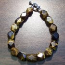 "2a Tiger's Eye Natural Stone Bracelet 6.8"" Made in the U.S.A."