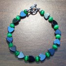 gh1 Green Cat's Eye Glass with Hemalyke Heart Bracelet 7.5""