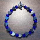"Blue Cat's Eye Glass with Hemalyke Heart Bracelet 7.5"" U.S.A."