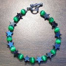 gs3 Green Cat's Eye Glass with Hemalyke Star Bracelet 7""