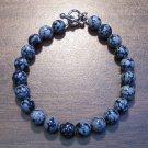 "Snowflake Obsidian Volcanic Glass 7.5"" Bracelet U.S.A. so1"