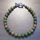 "Unakite Natural Stone Bracelet 7.1"" Made in the U.S.A."