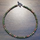 "Unakite Natural Stone 9.5"" Anklet Made in the U.S.A."