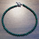 "Malachite Natural Stone 9.5"" Anklet Made in the U.S.A."