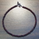 "Garnet Natural Stone 9.5"" Anklet Made in the U.S.A."