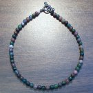"Fancy Jasper Natural Stone 9.5"" Anklet Made in the U.S.A."