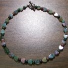 "Fancy Jasper Heart Natural Stone 10.5"" Anklet U.S.A."