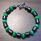 "Green Cat's Eye & Magnetic Hemalyke 6.9"" Bracelet U.S.A."