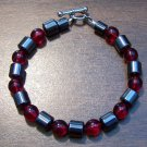 "Red Czech Glass & Magnetic Hemalyke 6.9"" Bracelet U.S.A."
