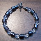 "Clear Czech Glass & Magnetic Hemalyke 6.9"" Bracelet U.S.A."