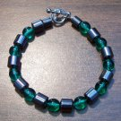 "Green Czech Glass & Magnetic Hemalyke 6.9"" Bracelet U.S.A."