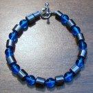 "Aqua Czech Glass & Magnetic Hemalyke 7.5"" Bracelet U.S.A."