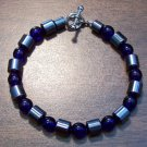 "Dark Blue Czech Glass & Magnetic Hemalyke 7.5"" Bracelet"