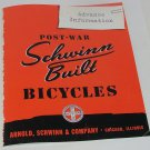 Rare 1946 Advance Information Post-War Schwinn Built Bicycles Arnold, Schwinn & Co. Catalog Reprint