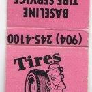 Retro Baseline Tire Service Automobile Repair Serviceman Vtg Graphic Matchbook