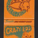 Retro Crazy Ed's Eds The Horny Toad Cave Creek Phoenix Arizona Graphic Matchbook