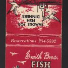 Retro Famous Smith Bros Fish Shanty Seagull Fisherman Beach Home Boat Matchbook