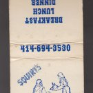 Retro Squire's Restaraunt Food Dining Banquet Graphic Kenosha WI  Matchbook