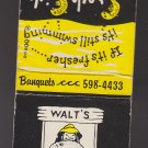 Retro Walt's Wharf Oyster Bar Seal Beach Graphic Fish Fisherman Matchbook Cover