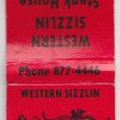 Retro Western Sizzlin Steak House Loves Park IL Cow Steer Graphic Draw Matchbook