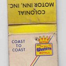 Vintage Best Western Best Eastern Motels Colonial Motor Inn Sturgis MI Matchbook