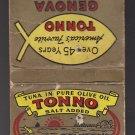Vintage Genova Brand Tuna Tonno West Coast Packaging Matchcover Matchbook
