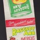 Vintage Raggedy Ann Peaches Americas Finest Foods 1950's Matchbook
