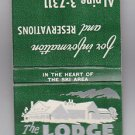 Vintage Retro 1960's The Lodge at Smugglers' Notch Stowe Vermont Matchbook New