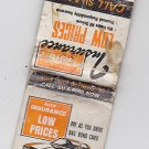 Vintage Retro Auto Insurance Co Advertisement Car Chevy Ford SU4-8000 Matchbook