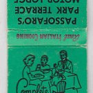 Vintage Retro Family Dinner Passofaro's Park Terrace Motor Lodge Home Matchbook
