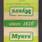 Vintage Retro Myers Central Supply Co. Pumps Gallipolis Ohio Matchbook
