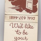 Vintage Retro Rare West Racine Bank * Feature * Matchbook Wisconsin
