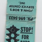 Vintage Standard Gas Gasoline Stop Light Graphic Kenosha Auto Service Matchbook