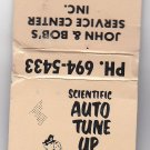 Vintage Standard Oil Scientific Auto Tune Up Mechanic Retro Graphic WI Matchbook