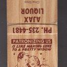 Vtg Ajax Liquor Patronizing Us Widow Man Woman Old Fashioned Design Matchbook
