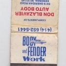 Vtg Body Fender Auto Body Repair Don Blazavier Kenosha Advertisement Matchbook