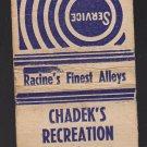 Vtg Chadek's Recreation Hotel Racine Bldg Jackson 1711 Bowling Alley Matchbook