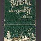 Vtg Denny's Season's Greetings Winter Green White Raised Deer Graphic Matchbook
