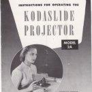 Vtg Eastman Kodak Kodaslide Projector Model 2A 2 A Instructions Operating Manual