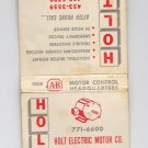 Vtg Holt Electric Motor Co Controls Milwaukee Motor Control Graphic Matchbook
