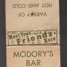Vtg Modory's Modorys Bar Bottle Goods Kenosha Wisconsin Matchbook Cover 1940s