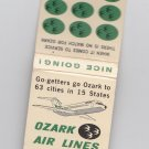 Vtg Ozark Air Lines Airlines Go-getters Logo Airplane Graphic DC-9 Matchbook