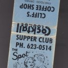 Vtg Retro Cliff's Coffee Shop Supper Club Graphic Couples Dancing 50s Matchbook