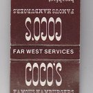 Vtg Retro Coco's Cocos Famous Hamburgers Far West Services Ad Matchbook
