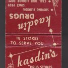 Vtg Retro Kasdin Drugs Florida Since 1939 Delivery Phone: JE1-0459 Matchbook