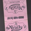 Vtg Retro Nicolby's Nicolbys Restaraunt Penny-Farthing Bicycle Design Matchbook