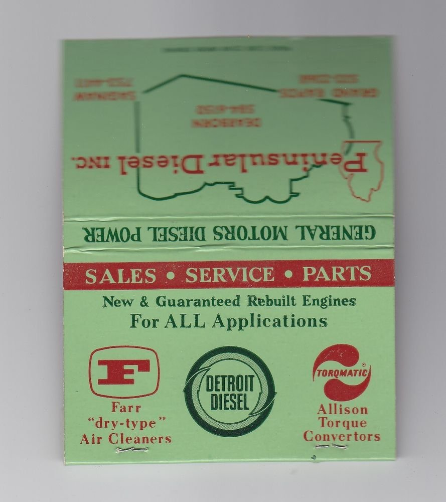 Vtg Retro Peninsular Diesel General Motors GM Power Detroit Diesel Matchbook