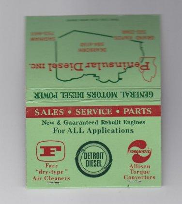 Vtg Retro Peninsular Diesel General Motors GM Power Detroit Diesel Matchbook