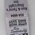 Vtg Retro Stop Light Inn - Good Beer Tasty Sandwiches Oconto Wisconsin Matchbook