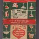 Vtg Retro Ted's Archdale Room Banquets Parties Waukegan Mixed Drinks Matchbook